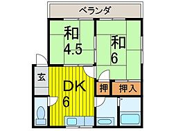 沢田コーポB棟[2階]の間取り