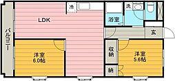 千代田サンライズマンションA 4階2LDKの間取り