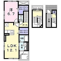 JR東海道本線 焼津駅 徒歩18分の賃貸アパート 3階1LDKの間取り