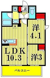 アーバネックス菊川II 6階2LDKの間取り