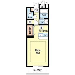 高松琴平電気鉄道琴平線 片原町駅 徒歩6分の賃貸マンション 5階1Kの間取り