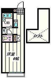 JR武蔵野線 東浦和駅 徒歩20分の賃貸アパート 2階1Kの間取り