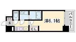 エスリード神戸兵庫駅マリーナスクエア 2階1Kの間取り