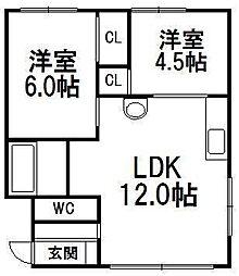 北海道札幌市西区発寒六条12丁目の賃貸アパートの間取り