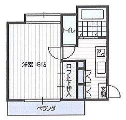 JR山形新幹線 山形駅 バス20分 元木団地前下車 徒歩7分の賃貸アパート 2階1Kの間取り