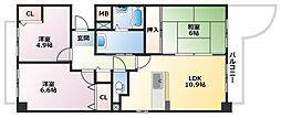エヴァグリーン岡本[1階]の間取り