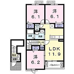 徳島県徳島市安宅3丁目の賃貸アパートの間取り