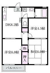 東京都杉並区本天沼3丁目の賃貸アパートの間取り