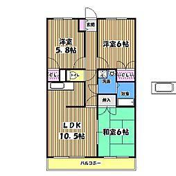 昭和コーポ武蔵村山II[2階]の間取り