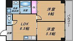 Osaka Metro堺筋線 天神橋筋六丁目駅 徒歩5分の賃貸マンション 5階2DKの間取り
