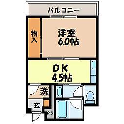 中古賀マンション[3階]の間取り
