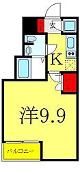 ビバリーホームズ赤塚公園II 4階1Kの間取り