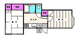 サンハイツK[1階]の間取り