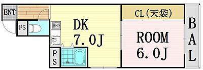 間取り,1DK,面積34.9m2,賃料6.0万円,Osaka Metro谷町線 中崎町駅 徒歩9分,Osaka Metro谷町線 天神橋筋六丁目駅 徒歩11分,大阪府大阪市北区本庄西1丁目13-19