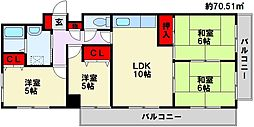 ヴィブレ黒崎[4階]の間取り