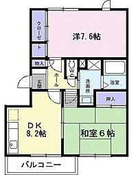 グランディール矢三A[2階]の間取り