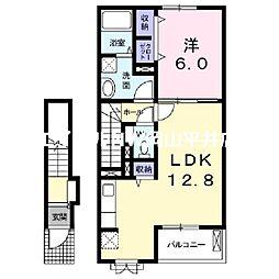 JR山陽本線 岡山駅 バス19分 福富西1丁目下車 徒歩4分の賃貸アパート 2階1LDKの間取り