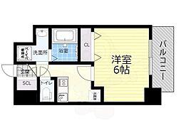 JR関西本線 JR難波駅 徒歩10分の賃貸マンション 6階1Kの間取り