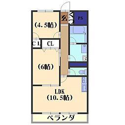 安井マンション[3-D号室]の間取り
