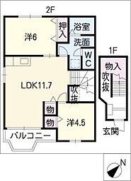 レジデンスTAHARA B[2階]の間取り