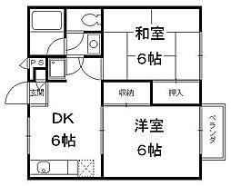 京都府京都市伏見区葭島矢倉町の賃貸アパートの間取り