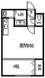 コットンハウス17 1階1DKの間取り