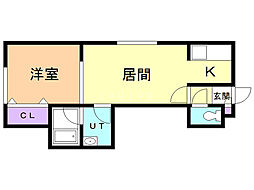 VILLA・POPOROIII 2階1DKの間取り