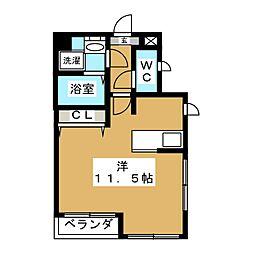 JR山手線 目黒駅 徒歩10分の賃貸マンション 2階ワンルームの間取り