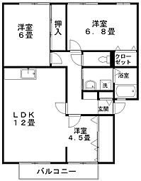 サンパレスMARUNI A棟[1階]の間取り