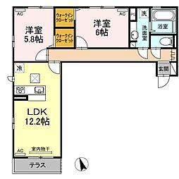 (仮)D−room沖浜町居屋敷[102号室]の間取り