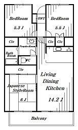 第三稲毛ハイツ28号棟[8階]の間取り