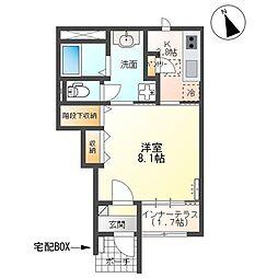 (仮)取手市本郷三丁目新築アパート 1階1Kの間取り