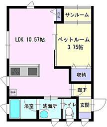 秋田県大仙市朝日町の賃貸アパートの間取り