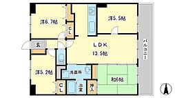 リバード東今宿[5階]の間取り