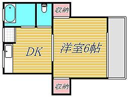 東京都目黒区東山2丁目の賃貸アパートの間取り