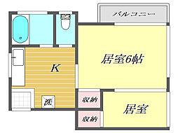 東京都板橋区中台1丁目の賃貸アパートの間取り