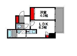 西鉄貝塚線 西鉄香椎駅 徒歩5分の賃貸マンション 4階1LDKの間取り