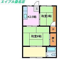 三重県桑名市末広町の賃貸アパートの間取り