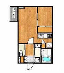 JR筑肥線 姪浜駅 徒歩10分の賃貸アパート 1階1LDKの間取り