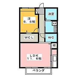 静岡県三島市萩の賃貸アパートの間取り