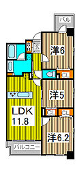 AXIS別所[5階]の間取り