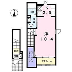 愛知県名古屋市西区木前町の賃貸アパートの間取り