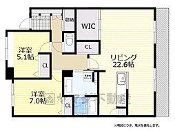 新千里桜ヶ丘メゾンシティ参番館 19階2LDKの間取り