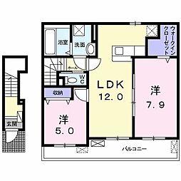 プロムナードメゾン弐番館 D[2階]の間取り