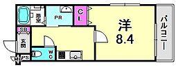 フジパレス西宮WEST 3階1Kの間取り