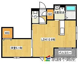 JR鹿児島本線 千鳥駅 徒歩10分の賃貸マンション 1階1LDKの間取り