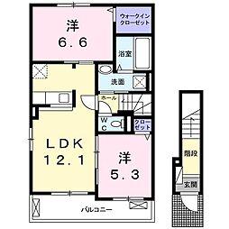 上石川アパートA[0201号室]の間取り