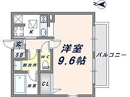 大阪府東大阪市花園本町1丁目の賃貸アパートの間取り