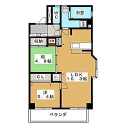 ハイクラスO・N・DA[5階]の間取り