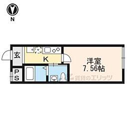 阪急京都本線 西院駅 徒歩6分の賃貸マンション 2階1Kの間取り